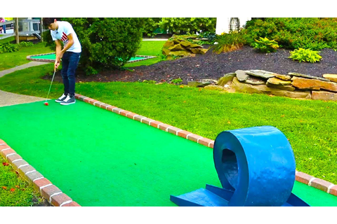 INSANE DOUBLE HOLE IN ONE! MINI GOLF: LETS PLAY FOR REAL ...