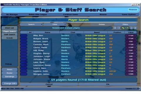 NHL Eastside Hockey Manager 2005 download PC