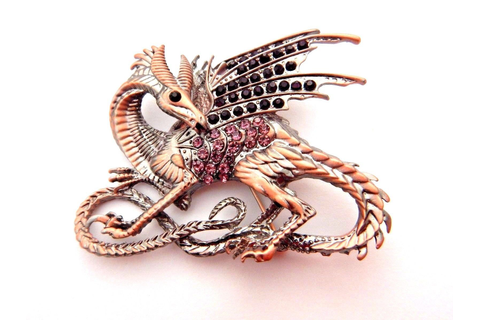 Copper Purple Dragon Brooch Rhinestone Pin Fantasy Game Of ...