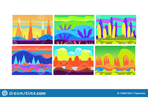 Flat Vector Set Of Cartoon Seamless Backgrounds For Mobile ...