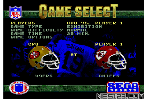 NFL Football '94 Starring Joe Montana SEGA Roms Games online
