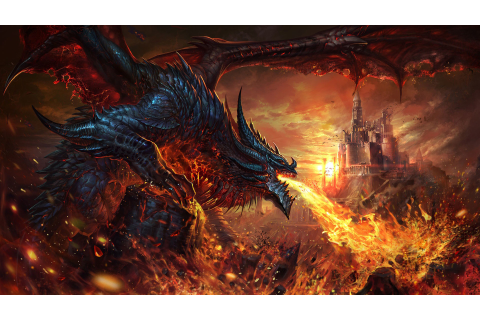 Fantasy Dragon Is Breathing Fire On Castle HD Dreamy ...