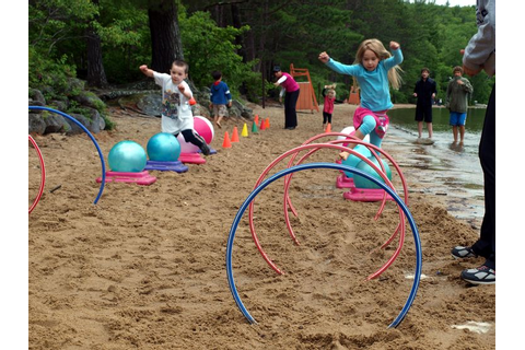 Lake game for kids: Create an obstacle course using hula ...