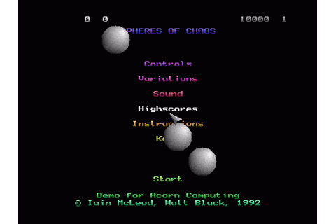 Spheres of Chaos (1992) Archimedes game