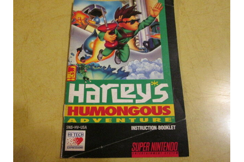 SNES BOOKLET FOR THE SUPER NINTENDO GAME HARLEYS HUMONGOUS ...