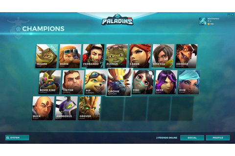 Paladins Champions Of The Realm - Champion Select Screen ...