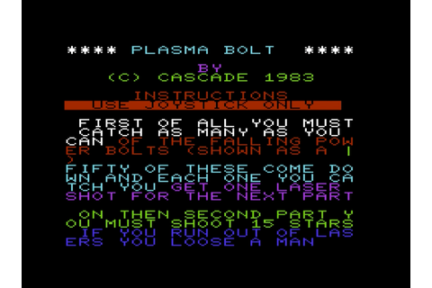 Plasma Bolt (Vic-20 Cassette 50 Game 21)