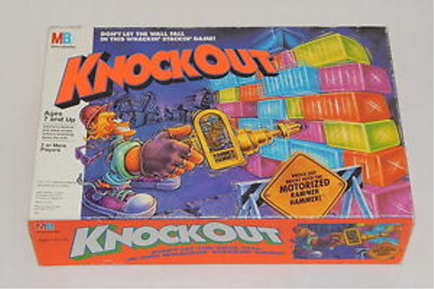 Milton Bradley Knockout Wall Stack 1991 Board Game With ...