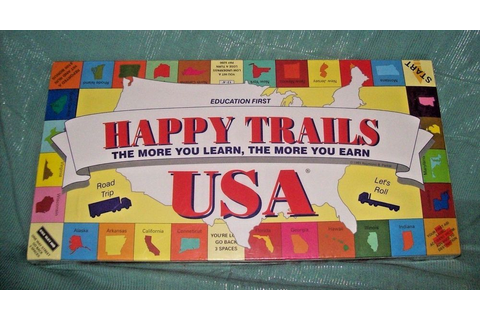VTG 1991 HAPPY TRAILS USA Board Game Parker Education ...