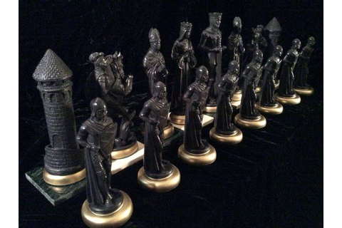 "9"" MEDIEVAL King, Chess Set ""antiqued"". Made-2-Order ..."