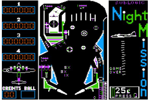 Night Mission Pinball (1982) by subLOGIC Apple II E game