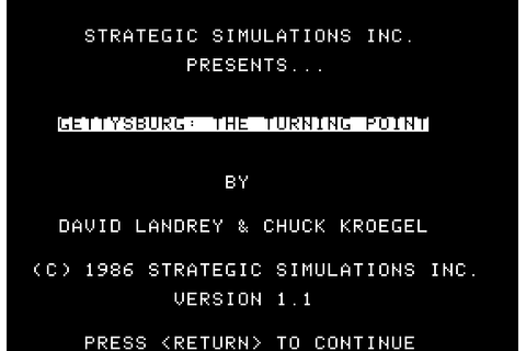 Gettysburg: The Turning Point (1986) by SSI Apple II E game