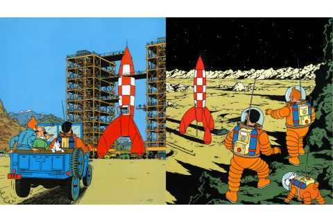 Tintin, Drawing, Rocket, Book cover Wallpapers HD ...