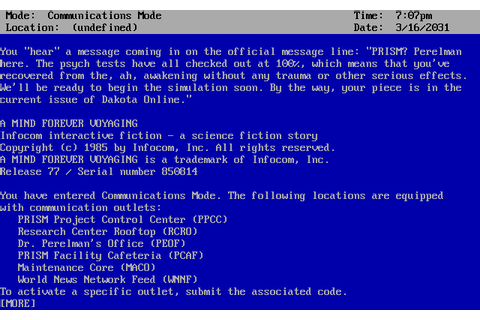 A Mind Forever Voyaging (1985) by Infocom MS-DOS game