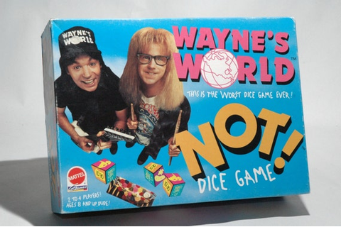 Wayne's World Not Dice Game from Mattel 1992 COMPLETE