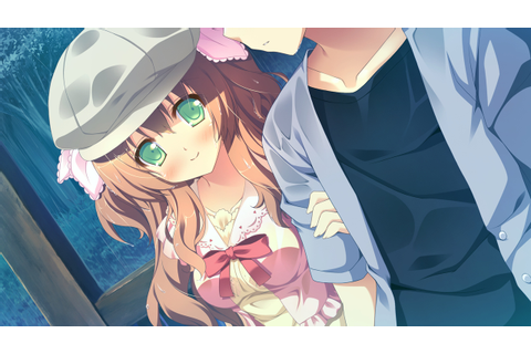 alcot blush bow brown hair game cg green eyes hat kirihara ...