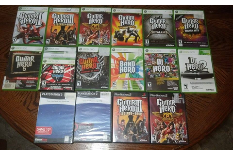My Xbox 360 and PS2 Collection of Guitar Hero-based games ...