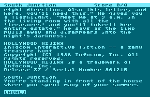 Hollywood Hijinx (1986) by Infocom Atari 400/800 game
