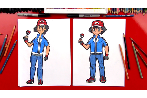 How To Draw Ash Ketchum From Pokemon - Art For Kids Hub