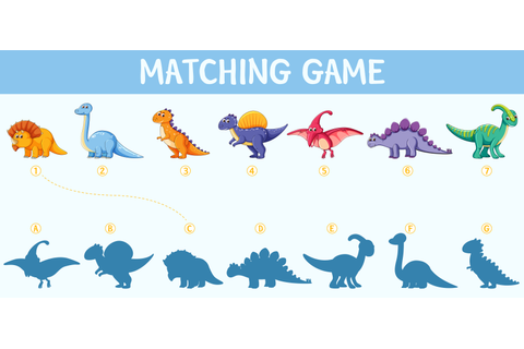 Dinosaur shadow matching game - Download Free Vectors ...