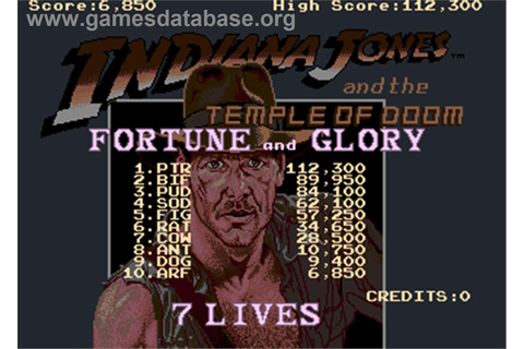 Indiana Jones and the Temple of Doom - Arcade - Games Database