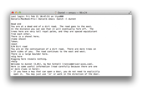 Dunnet: Text-Adventure-Game in OSX und Linux « Netroid