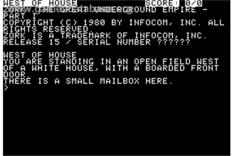 Zork I: The Great Underground Empire - Apple II - Games ...