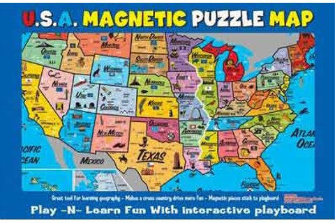 free map of 52 states in USA: Puzzle magnetic map of 52 ...