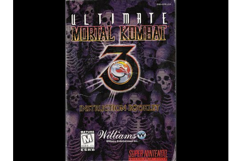 Ultimate Mortal Kombat 3 - Game Manual (SNES) (Instruction ...