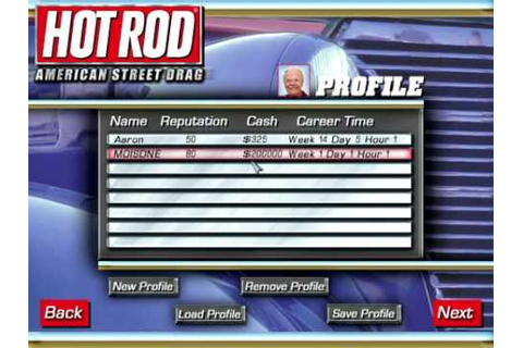 Hot Rod: American Street Drag profile cheat code - YouTube