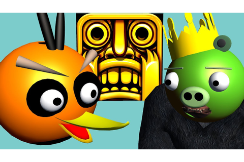 TEMPLE RUN starring ANGRY BIRDS ♫ 3D animated game mashup ...