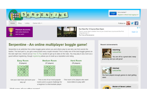 Access serpentinegame.com. Serpentine - Play Boggle Online ...