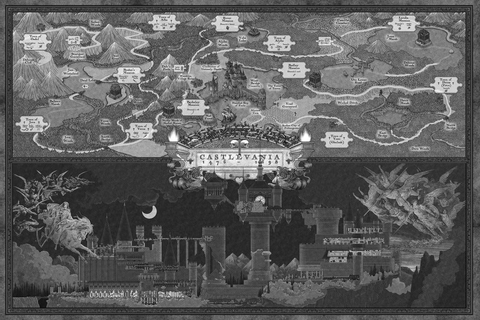 """Whaddaya buyin'?"" — NES Castlevania map (black and white)"