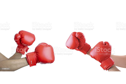 Brawl A View Of Hands With Boxing Gloves Stock Photo ...