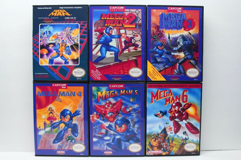 Mega Man 1, 2, 3, 4, 5, 6, 1-6 - NES Custom Cases Set - NO ...