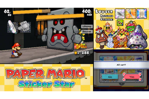 Paper Mario: Sticker Star - ALL Boss Battles - YouTube