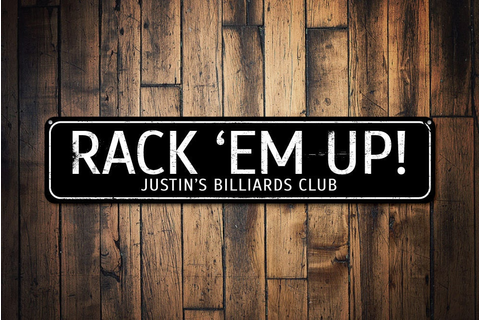 Rack 'Em Up Sign Personalized Game Room Owner Name Gift