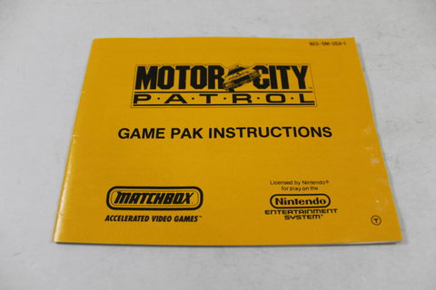 Manual - Motor City Patrol - Rare Nes Nintendo