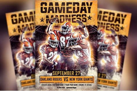 Gameday Madness Football Flyer ~ Flyer Templates ...