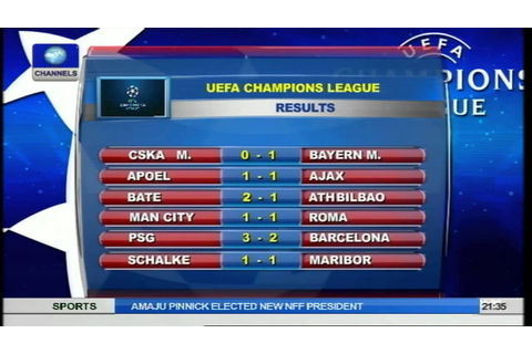 Sports Tonight: Champions League Results And Fixtures ...
