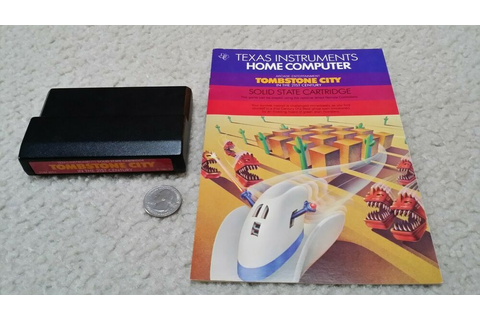 TI-99 4A computer cartridge & manual 'Tombstone City in ...
