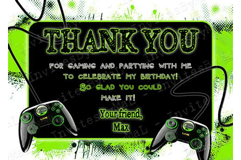 Video Game Party Thank You Card with or without by ...