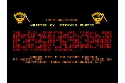 Into Oblivion Review for the Amstrad CPC by John Gage ...