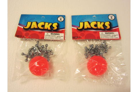 2 SETS OF METAL STEEL JACKS WITH SUPER RED RUBBER BALL ...