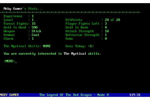 Legend of the Red Dragon Screenshots for DOS - MobyGames