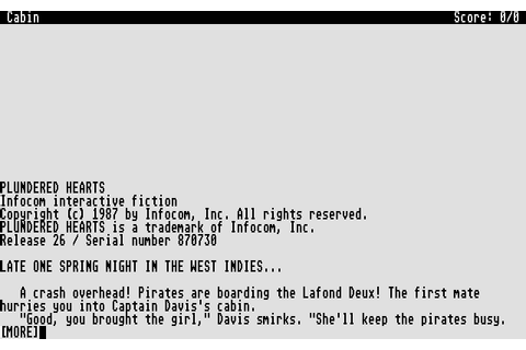 Plundered Hearts (1987) by Infocom Atari ST game