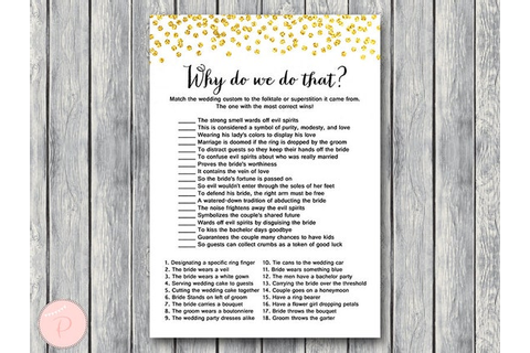 Gold Why do we do that Bridal Shower Game Wedding Tradition