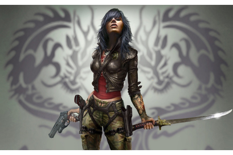artwork, Women, Sword, Gun, Fantasy Art, Warrior, Dark ...