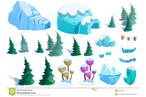Illustration: Winter Snow Ice World Theme Elements Design ...