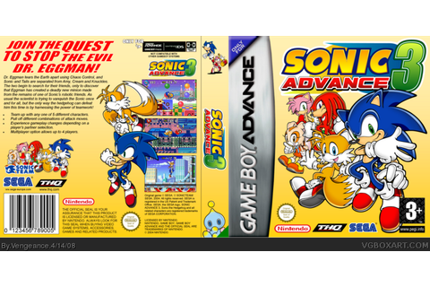 Sonic Advance 3 Game Boy Advance Box Art Cover by Vengeance